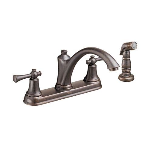 delta kitchen faucets rubbed bronze delta foundations 2 handle standard kitchen faucet with side sprayer in rubbed bronze