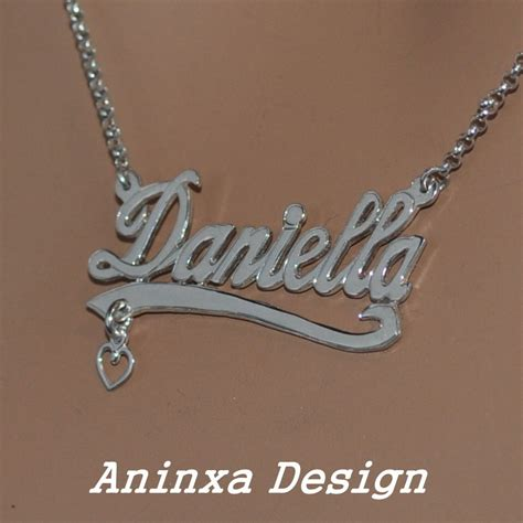 Handmade Name Necklace - sterling silver personalized monogram initial name
