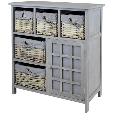 hartleys grey 5 drawer wicker basket storage unit shabby