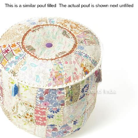 decorative l shades online india 22 quot white round patchwork embroidered ottoman pouf ethnic