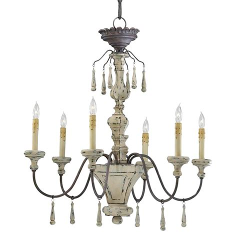 Country Chandeliers Provence Country White And Grey Wash 6 Light Chandelier Kathy Kuo Home