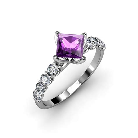 amethyst princess cut and side engagement ring 1