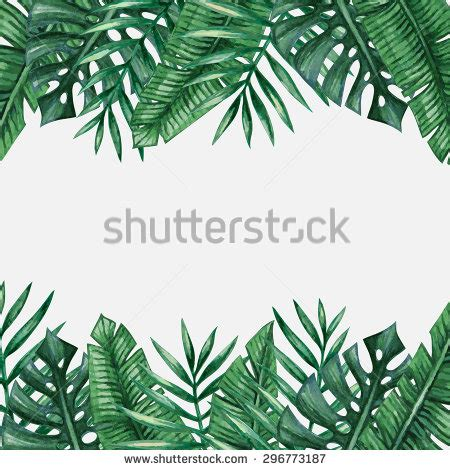 Watercolor Tropical Palm Leaves Seamless Pattern Stock Leaf Border Template