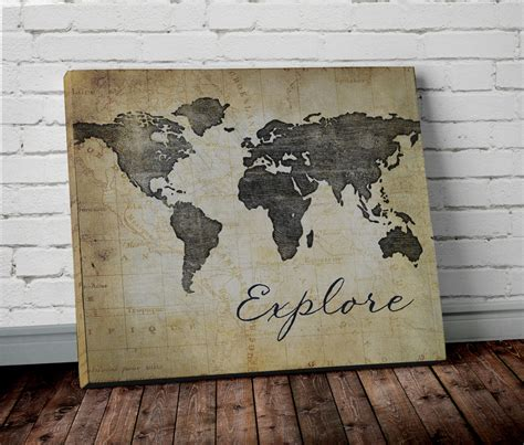 Canvas Decor Explore Discover explore world map wall canvas world map print in brown