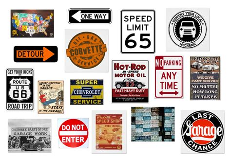 Home Decor Shopping Sites by Road Signs Vintage Garage Signs Amp Car Mechanic Art