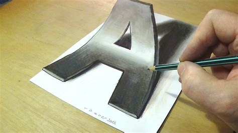 How To Make 3d Letters With Paper - trick drawing how to draw 3d letter a anamorphic