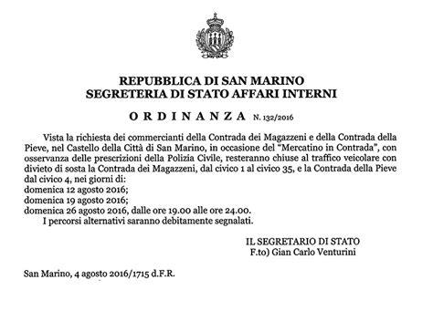 segreteria interni san marino san marino segreteria di stato affari interni ordinanza
