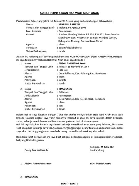 format surat keterangan wali surat pernyataan hak wali asuh anak