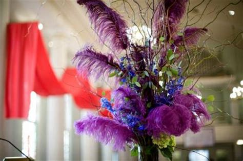 High Table Centerpiece With Purple Long Feathers Blue Centerpieces With Feathers And Flowers