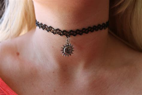 tattoo choker necklace celestial sun moon choker necklace henna stretch