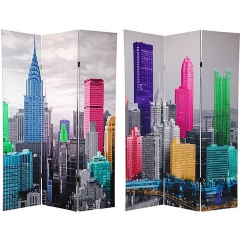 New York Room Divider Furniture 6 Ft Sided Colorful New York Canvas Room Divider 3 Panel