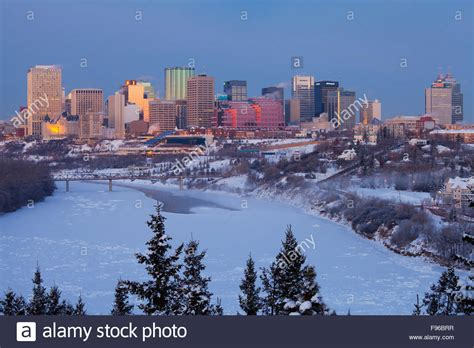 edmonton skyline and the north saskatchewan river at dawn