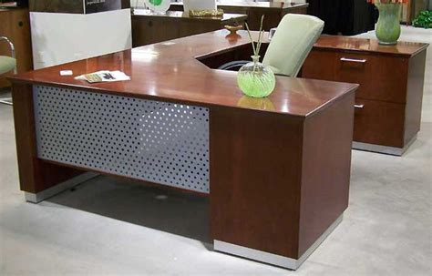 Meja Executive modern u shaped executive desk with metal wood officepope