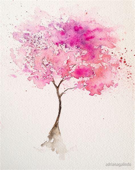 desenho aquarela 193 rvore pink arvore 2 aquarela 21 x 15 cm pink tree n 2