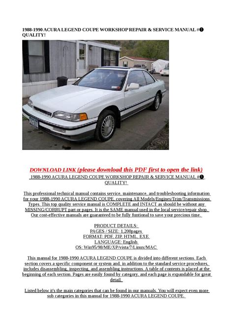 service manual 1992 acura legend service manual car maintenance manuals 1990 acura legend