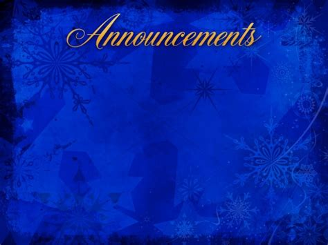 christmas snowflake announcement background church