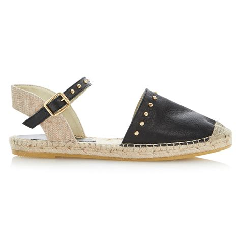 espadrille sandals dune joka leather espadrille flat sandals in black lyst