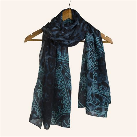 electric blue animal print silk scarf maati