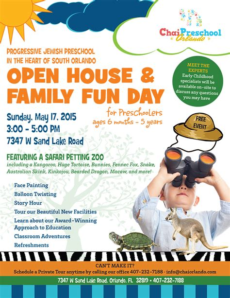 themes for open house events preschool open house family fun day chabad of south