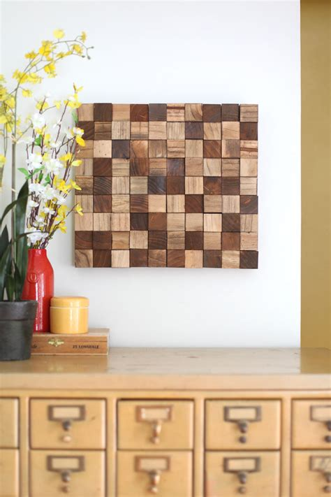 The Bedroom Store Wi Wooden Mosaic Wall Diy A Beautiful Mess