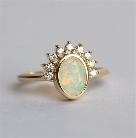Opal Engagement Rings by Oval Opal Engagement Ring Opal And Diamonds Ring
