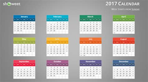 Colorful 2017 Calendar For Powerpoint And Keynote Powerpoint Calendar Template 2017