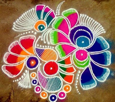 flower pattern rangoli design 5 flower freehand rangoli design image