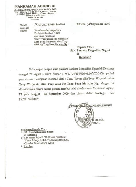 Contoh Surat Lamaran Ke Kejaksaan Agung by 30 Sep 2009 Penerimaan Berkas Perkara Peninjauan Kembali