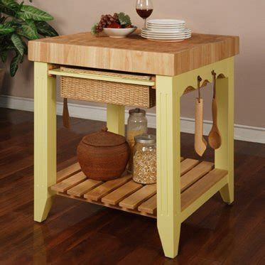 yellow country chic butcher block kitchen island table set