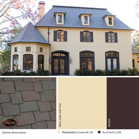 exterior color scheme brownstone davinci slate roof