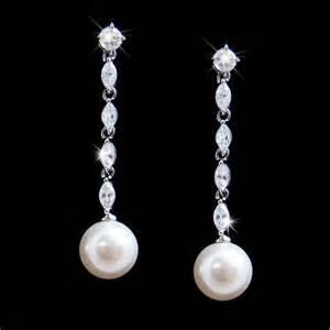 drop bridal earrings cubic zirconia pearl drop bridal earrings e 2148 171 wedding fashion
