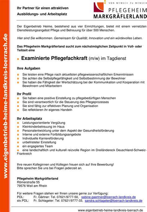 Bewerbung Als Aushilfe Am Wochenende Stellenangebot Examinierte Pflegefachkraft M W Im Tagdienst In Weil Am Rhein