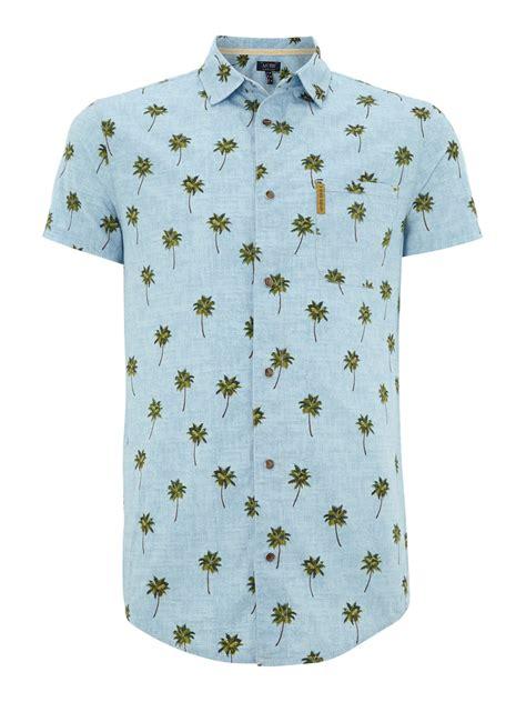 Tree Print Shirt armani palm tree leaf print sleeve shirt in