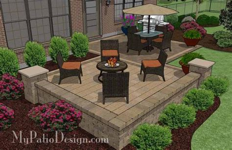 overlapping rectangle patio design with seat wall 490 sq ft mypatiodesign com