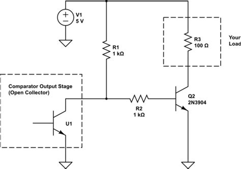 pull up resistor comparator can t turn on transistor from output of comparator electrical engineering stack exchange