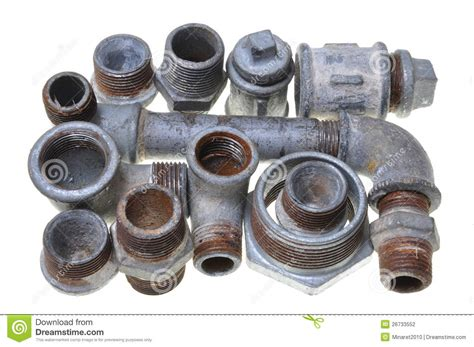 iron pipe fittings for plumbing stock photography image