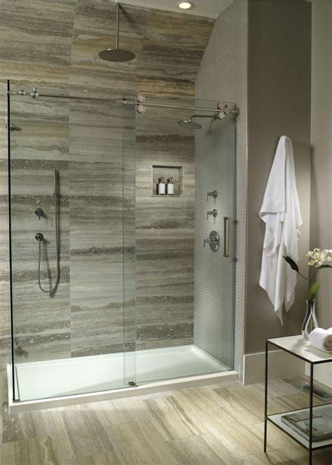 Bathroom Shower Pan by White Oak Bathroom Multi Threshold Shower Base And Glass