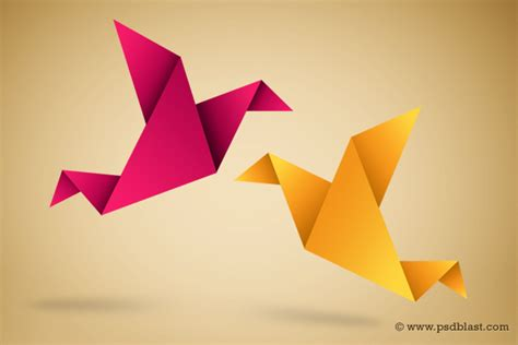 Folded Paper Birds - paper bird icon origami symbolic vector illustration