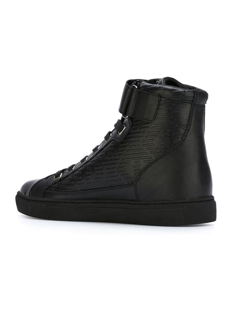 black high top sneakers mens armani leather high top sneakers in black for lyst