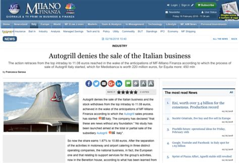 sle of a news report autogrill denies newspaper rumours regarding sale of