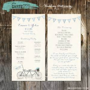tandem bike wedding ceremony card wedding by alacartepaperie