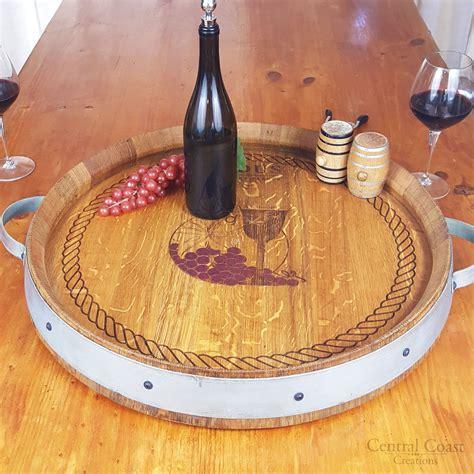 wine barrel top lazy susan turntable rustic furniture