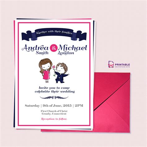 free printable wedding invitations pdf free pdf download cute couple illustration wedding