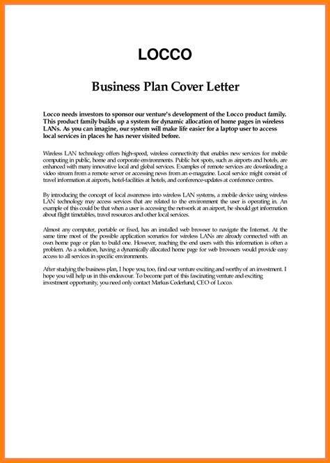 cover letter of business plan 6 exle of business introduction