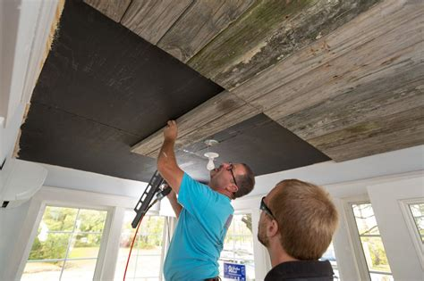 Installing A Ceiling by How To Install A Reclaimed Wood Ceiling Treatment How Tos Diy