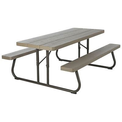 lifetime folding picnic table lifetime 6 folding picnic table brown bj s wholesale