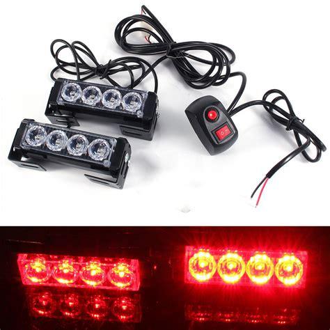 red led vehicle warning lights 12v 24w 8 led red strobe emergency flashing warning light