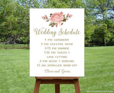 Wedding Order Of Events by Printable Wedding Schedule Sign Custom Wedding Program