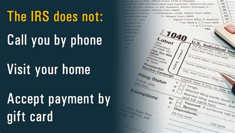 the irs does not call visit your home or accept payment