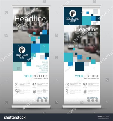 design banner publisher blue square roll business banner design stock vector